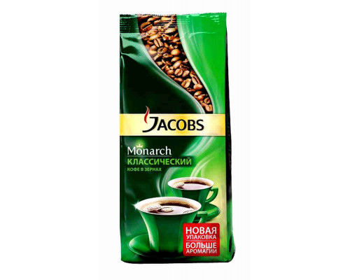 Кофе Jacobs Monarch натуральный жареный зерна 230г пак