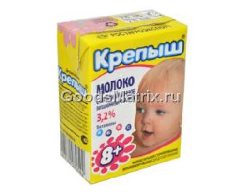 Молоко ТМ КРЕПЫШ, серилизованное, витаминизированное, 3,2%, 200 мл.