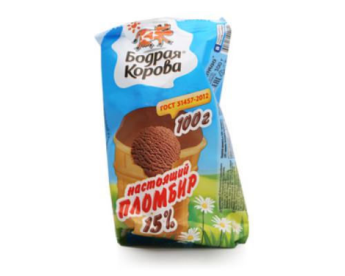 Пломбир настоящий шоколадный 15% ТМ Бодрая корова