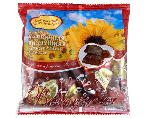 Конфета Барнаульская ХФ халвичная воздушная, шоколадная в глазури, 200 г