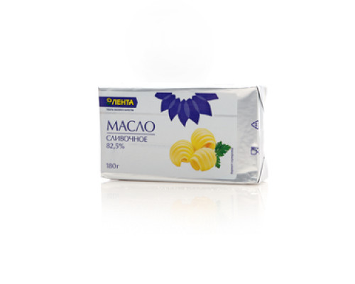 Масло сливочное сладко-сливочное несоленое: Традиционное 82,5% ТМ Лента