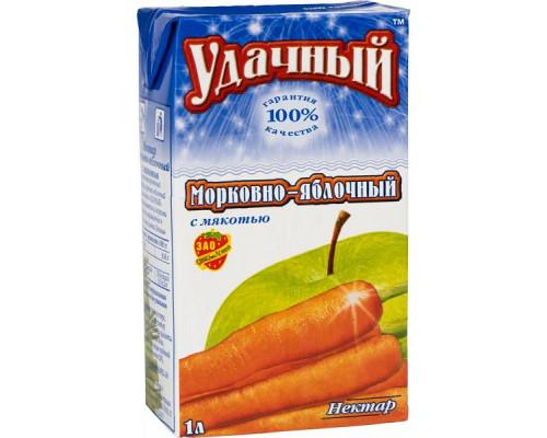 Нектар Морковно-яблочный ТМ Удачный, с мякотью, 1 л