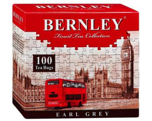 Чай черный ТМ Bernley (Бернли) Earl Grey с ароматом бергамота, 100 шт.