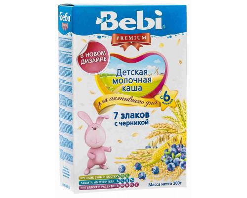 Каша молочная Bebi Premium 7 злаков/черника с 6мес 200г