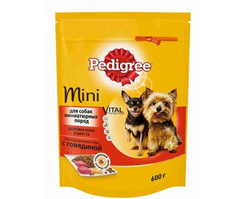 Корм Pedigree д/взрослых собак миниатюрных пород говядина, 600г