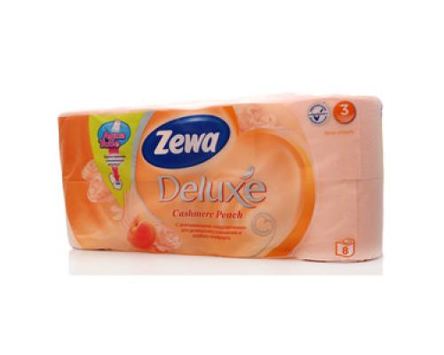 Туалетная бумага deluxe cashmire peach ТМ Zewa (Зева), 8 рулонов
