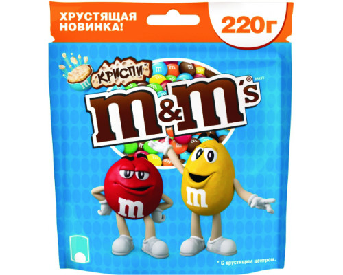 Драже ТМ M&M`s (ЭмэндЭмс) Криспи с хрустящим центром, 220 г