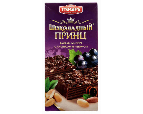 Торт вафельный Пекарь Шоколадный принц орех/изюм 260г