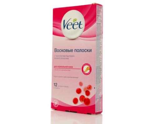 Восковые полоски для нормальной кожи с маслом ши и ароматом ягод, 12 восковых полосок, 2 салфетки TM Veet (Вит)