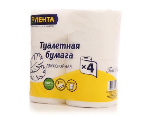 Туалетная бумага 2-слойная ТМ Лента, 4 шт