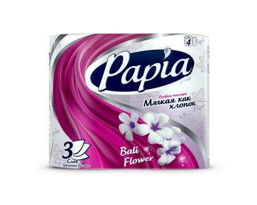Бумага туалетная Papia Балийский Цветок 3 слоя, белая, 4 рулона