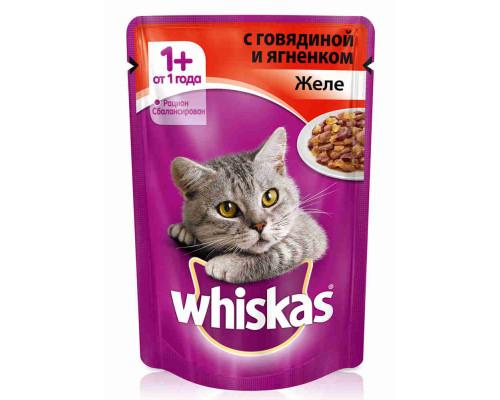 Корм д/кошек Whiskas говядина/ягненок желе 85г