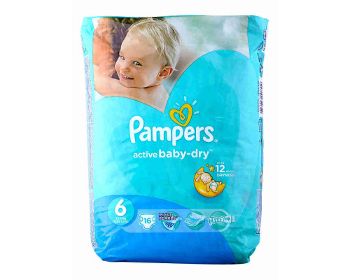 Подгузники Pampers Active baby dry extra large 16