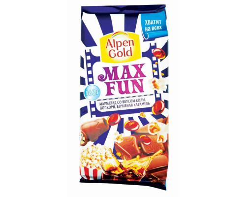 Шоколад молочный ТМ Alpen Gold Max Fun, с мармеладом со вкусом колы/попкорном/взрывной карамелью 160 г