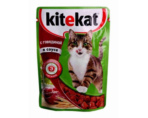 Корм Kitekat д/кошек говядина в соусе 85г пауч
