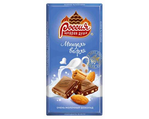 Шоколад ТМ Россия, молочный с миндалем и вафлями Нестле Россия 90 г