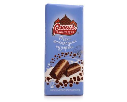 Шоколад ТМ Россия Щедрая Душа, молочный пористый Очень шоколадные пузырьки 82 г