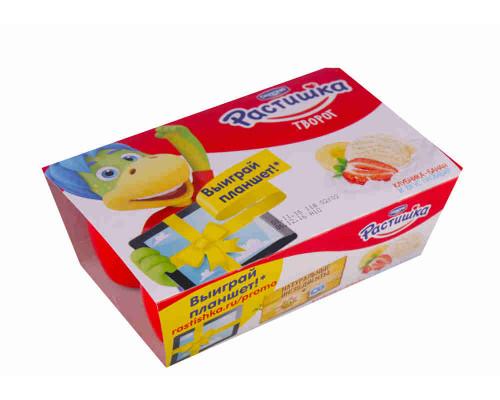 Творог ТМ Растишка, обогащённый клубника/банан/пломбир, 3,5%, 6*45 г
