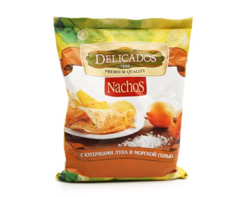 Чипсы Nachos с кусочками лука и морской солью TM Delicados (Деликадос)