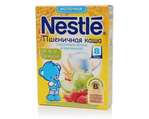 Каша пшеничная молочная  с кусочками яблока и земляникой ТМ Nestle (Нестле)