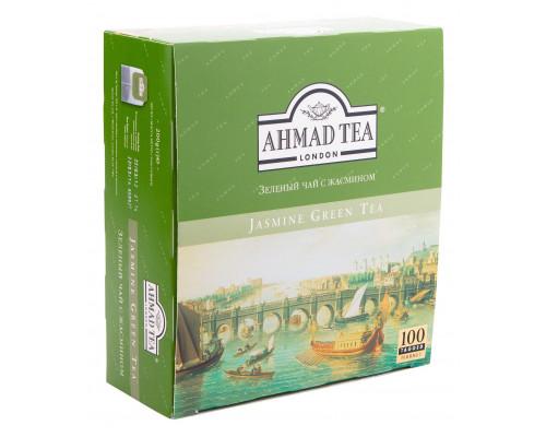 Зеленый чай ТМ Ahmad Tea (Ахмад Тиа) с жасмином, в пакетиках, 100 шт.