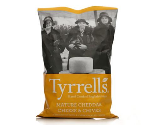 Чипсы натуральные со вкусом сыра 'чеддер' и лука-резанец ТМ Tyrrells (Туррелсс)