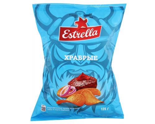 Чипсы Estrella Храбрые со вкусом мяса и соуса барбекю, 125 г