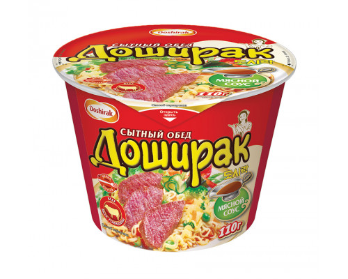 Лапша ТМ Doshirak (Доширак) Сытный обед с аппетитным соусом вкус говядина, 110 г