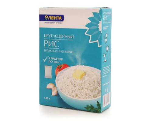 Рис круглозерный в пакетах для варки 5*100г ТМ Лента