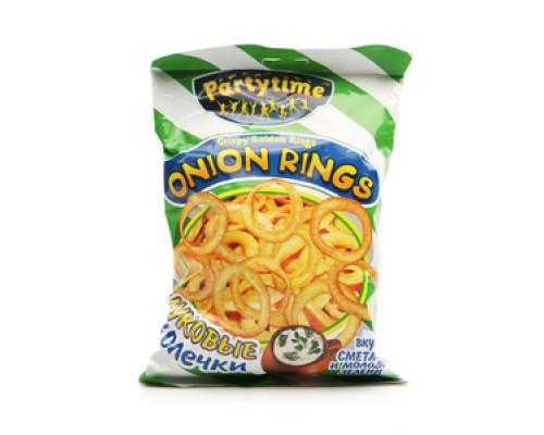 Луковые колечки Onion Rings вкус сметаны и молодой зелени ТМ Partytime (Патитайм)