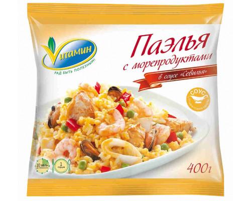 Паэлья Vитамин Севилья с морепродуктами в соусе 400г