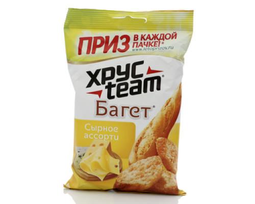 Сухарики ТМ Хрус Теам (Хрус Тим), Багет со вкусом сырного ассорти, 60 г