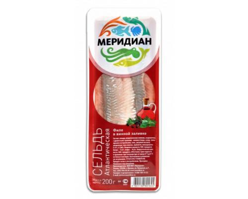 Сельдь Меридиан, В масле, В винной заливке филе 200 г