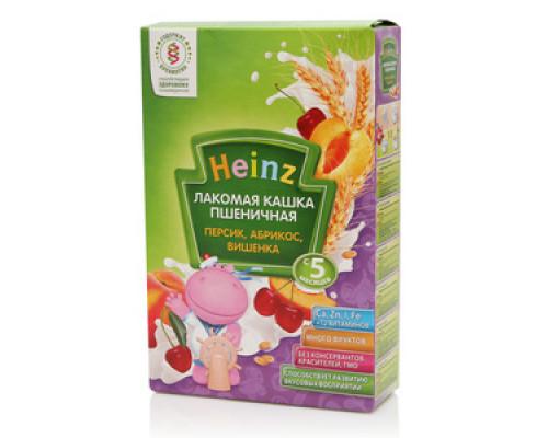Кашка Пшеничная Лакомая Персик, Абрикос, Вишенка ТМ Heinz (Хайнц), с 5 мес., 200 г