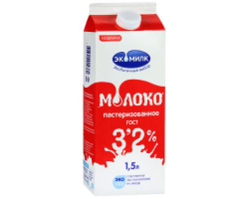 Молоко ТМ Экомилк, пастеризованное 3,2%. 1,5 л