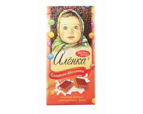 Шоколад ТМ Красный октябрь, молочный Аленка с разноцветным драже 100 г
