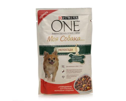 Корм для маленьких собак с активным образом жизни Моя собака непоседа с говядиной, картофелем и морковью в подливе ТМ Purina One (Пурина Уан)