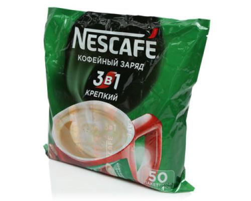 Напиток кофейный растворимый 3 в 1 Крепкий 50 пакетиков ТМ Nescafe (Нескафе)