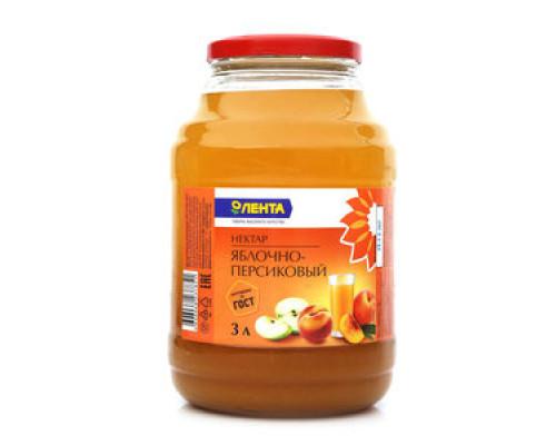 Нектар яблочно-персиковый ТМ Лента, 3 л