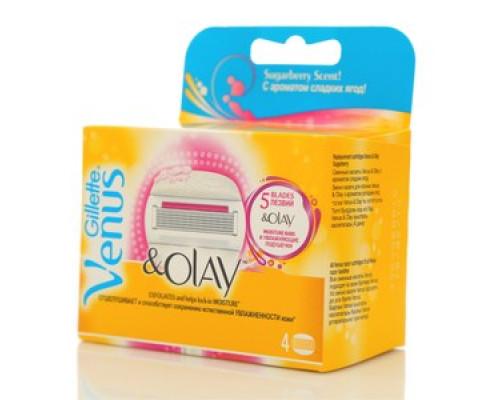 Сменные кассеты Venus & Olay 5 лезвий 4 шт ТМ Gillette (Жиллетт)