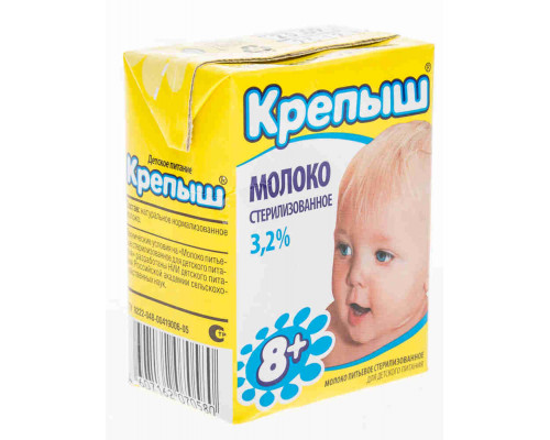 Молоко ТМ Крепыш, стерилизованное, 3,2%, 200 мл