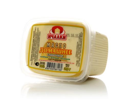 Масло сливочное соленое с зеленью, чесноком Домашнее 70% ТМ Ичалки