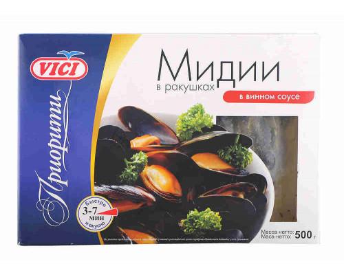 Мидии в ракушках в/м в винном соусе, Vici  ПРИОРИТИ , 500 г.