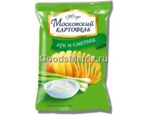 Чипсы картофельные ТМ Московский картофель, с луком и сметаной, 130 г