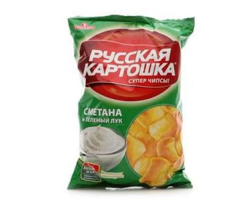 Чипсы картофельные со вкусом сметаны и лука ТМ Русская картошка