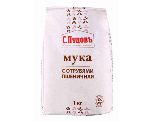 Мука Пудовъ пшеничная с отрубями, 1кг
