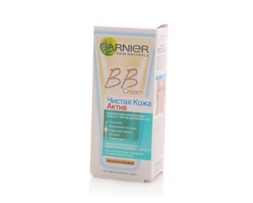 ВВ крем Чистая кожа натурально-бежевый Актив 5 в 1 для жирной кожи ТМ Garnier (Гарньер)