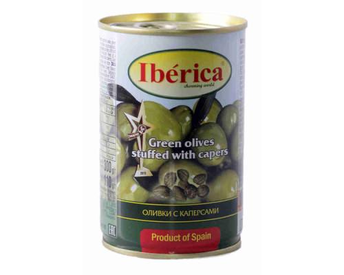 Оливки Iberica фаршированные каперсами 300г ж/б