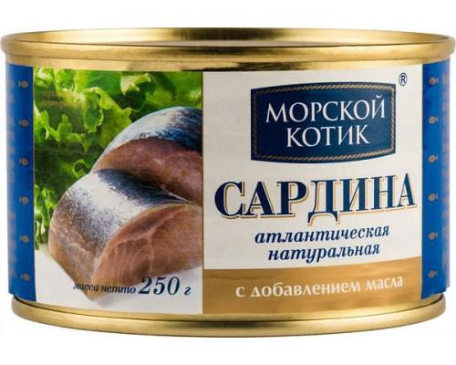 Сардина атлантическая ТМ Морской котик, натуральная, с добавлением масла, 250 г