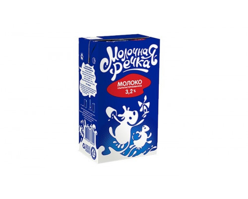 Молоко ТМ Молочная речка, ультрапастеризованное, 3,2%, 973 мл